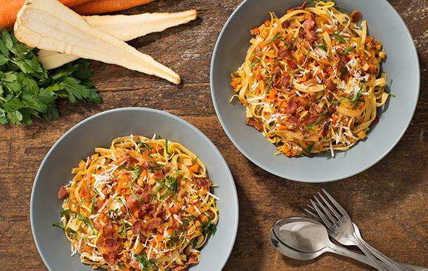 Parsnip and Pancetta Tagliatelle